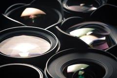 Reeks DSLR-lenzen, verschillende grootte en Stock Fotografie