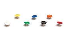 Kleurrijke duimkopspijkers Stock Foto's