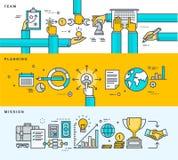 Reeks dunne banners van het lijn vlakke ontwerp voor zaken, bedrijfprofiel, beheer, het teamwerk, planning, opdracht Stock Afbeeldingen