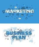 Reeks dunne banners van het lijnwoord van marketing en businessplan Stock Foto