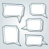 Reeks dunne 3d abstracte de toespraakbellen van de lijn lage veelhoek Royalty-vrije Stock Fotografie
