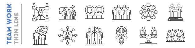Reeks dunne die lijnpictogrammen over het teamwerk op wit wordt geïsoleerd Samenwerking, vennootschapemblemen stock illustratie