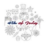 Reeks dunne lijnelementen voor de V.S. vierde Juli Stock Afbeeldingen