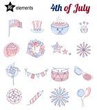 Reeks dunne lijnpictogrammen voor de Onafhankelijkheidsdag van de V.S. Stock Afbeelding