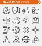 Reeks dunne pictogrammen van de lijnnavigatie Stock Afbeelding