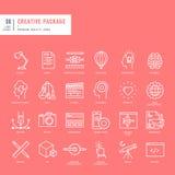 Reeks dunne pictogrammen van het lijnenweb voor grafisch en Webontwerp Stock Afbeelding