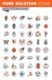 Reeks dunne pictogrammen van het lijnweb van milieu royalty-vrije illustratie