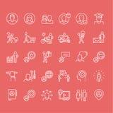 Reeks dunne pictogrammen van lijnmensen Royalty-vrije Stock Foto's