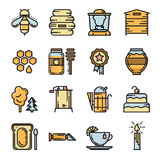 Reeks dunne van de lijnbij en honing pictogrammen Royalty-vrije Stock Afbeelding