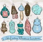 Reeks echte uitstekende decoratie 1 van Kerstmis. Stock Afbeeldingen