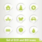 Reeks Eco en Biopictogrammen Stock Foto's