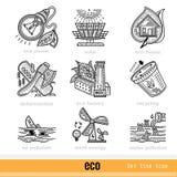 Reeks Eco-Pictogrammen van het Overzichtsweb Royalty-vrije Stock Foto