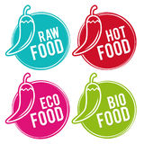 Reeks Eco-voedselkentekens Ruw, Heet, Eco en Biovoedsel Vectorhand getrokken tekens royalty-vrije illustratie