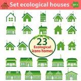 Reeks ecologische huizen van variërende ingewikkeldheid Stock Fotografie