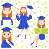 reeks Een gediplomeerde met een diploma Stock Afbeelding