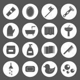 Reeks eenvoudige badkamerspictogrammen Stock Foto's