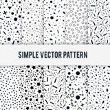 Reeks eenvoudige chaotische vormen van vectorpatroon op een witte achtergrond Stock Afbeelding