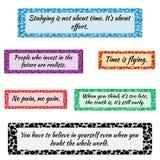 Reeks eenvoudige gekleurde kaders voor tekst Blauw, purper, oranje, rood Royalty-vrije Stock Fotografie