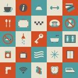 Reeks eenvoudige hotelpictogrammen Stock Afbeelding
