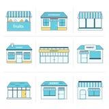 Reeks eenvoudige opslag de bouwpictogrammen Royalty-vrije Stock Afbeeldingen