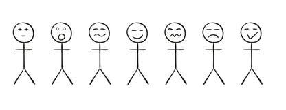 Reeks eenvoudige personen met verschillende emoties royalty-vrije illustratie