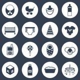 Reeks eenvoudige pictogrammen van de babyzorg Stock Fotografie
