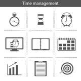 Reeks eenvoudige pictogrammen van het tijdbeheer Royalty-vrije Stock Foto's