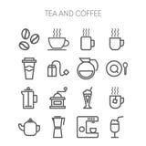 Reeks eenvoudige pictogrammen voor restaurant, koffie, koffie Royalty-vrije Stock Afbeeldingen
