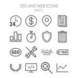 Reeks eenvoudige pictogrammen voor zoekmachineoptimalisering, Web, zaken en beheer Stock Foto