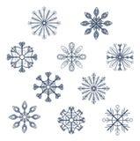 Reeks eenvoudige sneeuwvlokken Royalty-vrije Stock Afbeelding