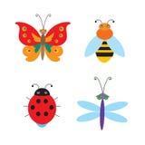 Reeks Eenvoudige Vliegende Insecten Vectorlieveheersbeestje Vectorlibel Royalty-vrije Stock Foto