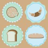 Reeks eigengemaakte de kleurenkentekens van het bakkerijpictogram Stock Foto's