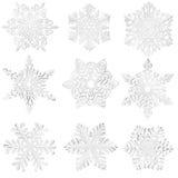 Reeks eigengemaakte document sneeuwvlokken. Royalty-vrije Stock Foto's