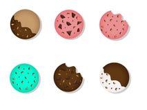 Reeks eigengemaakte koekjes stock illustratie