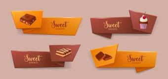 Reeks elegante band of lintbanners met heerlijke desserts of smakelijk snoepje royalty-vrije illustratie