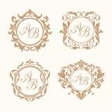 Reeks elegante bloemenmonogrammen Royalty-vrije Stock Afbeeldingen