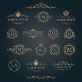 Reeks elegante bloemenmonogrammen en decoratieve elementen Royalty-vrije Stock Foto's