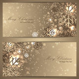 Reeks elegante Kerstmisbanners met sneeuwvlokken Stock Foto's