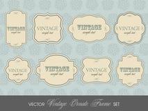 Reeks elegante kleurrijke RETRO etiketten Stock Afbeelding