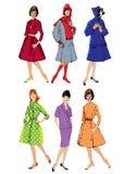 Reeks elegante vrouwen - retro stijlmannequins Stock Afbeeldingen