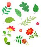 Reeks elementen, bloemen, bladeren, vlak ontwerp, handtekening, vectorillustratie stock afbeeldingen