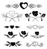 Reeks elementen - hart en flora Royalty-vrije Stock Afbeeldingen