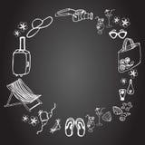 Reeks elementen van de de zomervakantie op de zwarte achtergrond Royalty-vrije Illustratie