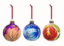 Reeks elementen van de Kerstmisdecoratie op witte backgroun worden geïsoleerd die Royalty-vrije Stock Fotografie