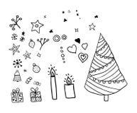 Reeks elementen van de Kerstmiskrabbel, Skandinavische stijl Royalty-vrije Stock Afbeeldingen