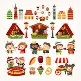 Reeks elementen van de Kerstmismarkt De klassieke Europese gebouwen, tenten die goederen, mensen verkopen die de winter koken beh royalty-vrije illustratie