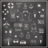 Reeks elementen van de schoolbord vectorreis Stock Afbeeldingen