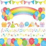 Reeks elementen van de verjaardagspartij. Stock Afbeelding