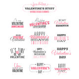 Reeks elementen van het de dagontwerp van uitstekend Valentine Stock Fotografie