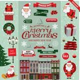 Reeks elementen van het Kerstmis decoratieve ontwerp Stock Foto's